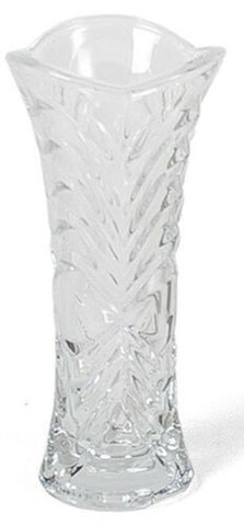 Small Glass Flower Vase 17cm Tall, Flared Design, Rippled Cut Glass Design