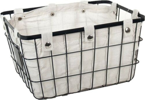 Large Black Metal Rectangular Lined Metal Storage Baskets Home Decor Handles