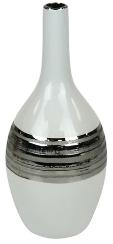 32cm Tall Single Stem Bottle Vase White & Striped Silver Bud Vase Ceramic