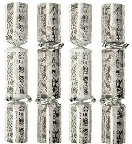 Bulk Pack Catering Large Christmas Crackers Box of 50 Luxury Silver & White