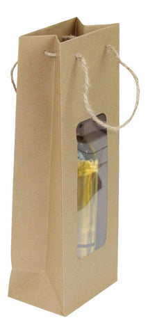 Gift Bag For Wine - Brown Paper Clear Window For Party Christmas Present Bottle