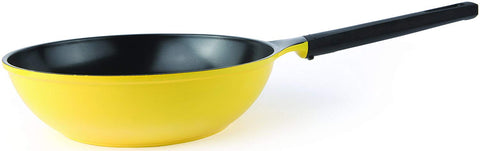 28cm Ecolon Coating Non Stick Yellow Chinese Wok Stir Fry Pan For Induction