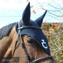 Load image into Gallery viewer, Cavalleria Toscana 'Attachable Jersey' Tie Down Ear Bonnet Dark Blue (7979) / Full Ears