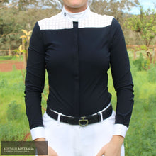 Load image into Gallery viewer, Cavalleria Toscana 'Crochet' Womens Competition Shirt Navy (7901) / XS Competition Shirt