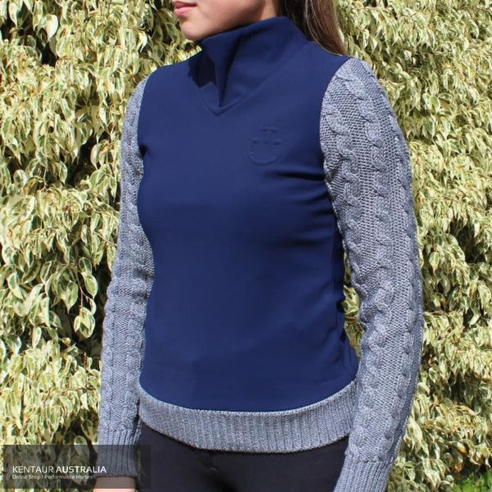 Cavalleria Toscana Jersey Fleece Sweater With Cable Knit Sleeves Dark Blue (7200) / Xs Jumpers And Jackets