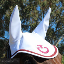 Load image into Gallery viewer, Cavalleria Toscana 'Jersey Stripe' Ear Bonnet White with Red (0001) / Full Ears