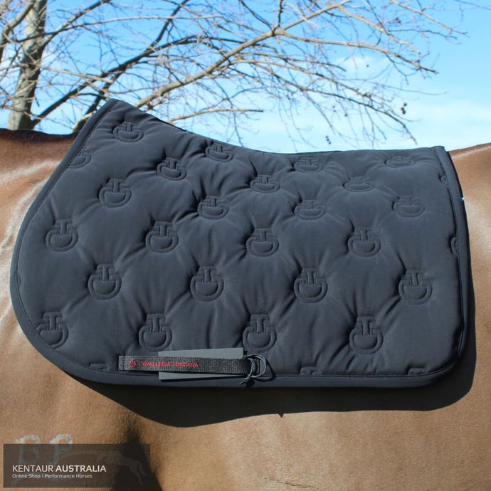 Cavalleria Toscana 'Jersey Stripe' Jumping Saddle Pad Black (9999) / Full Saddle Pad