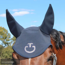 Load image into Gallery viewer, Cavalleria Toscana Perforated Ear Bonnet Navy (7901) / Full Ears