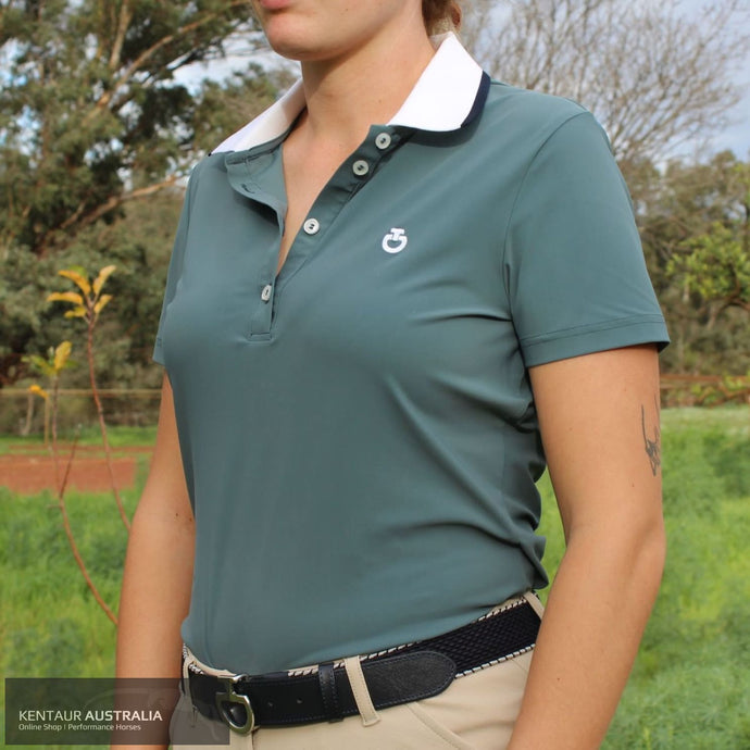 Cavalleria Toscana 'Rib Knit Banded' Womens Training Polo Sage (5900) / S Polo Shirts & Jersey's