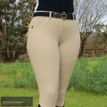 Load image into Gallery viewer, Cavalleria Toscana 'Squared Perforated' Womens Competition Breeches Beige (1010) / AU 8 Competition Breeches