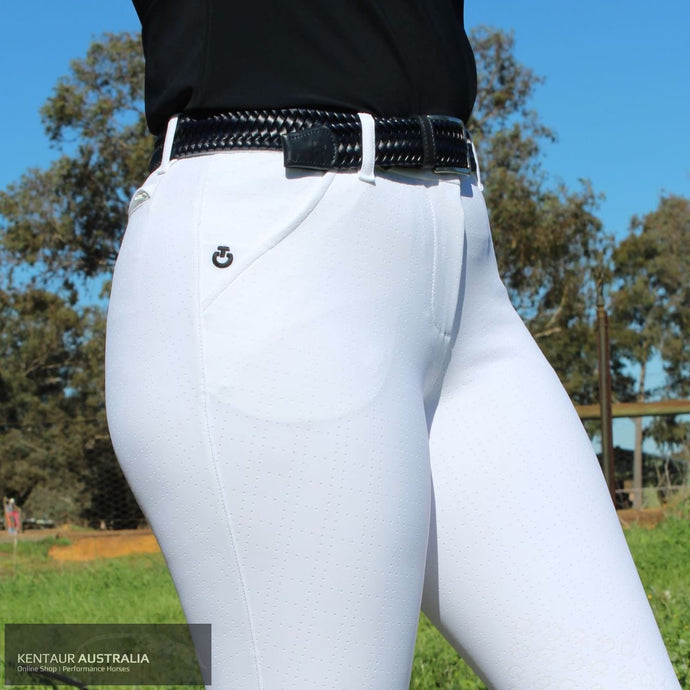 Cavalleria Toscana 'Squared Perforated' Womens Competition Breeches White (0101) / AU 8 Competition Breeches