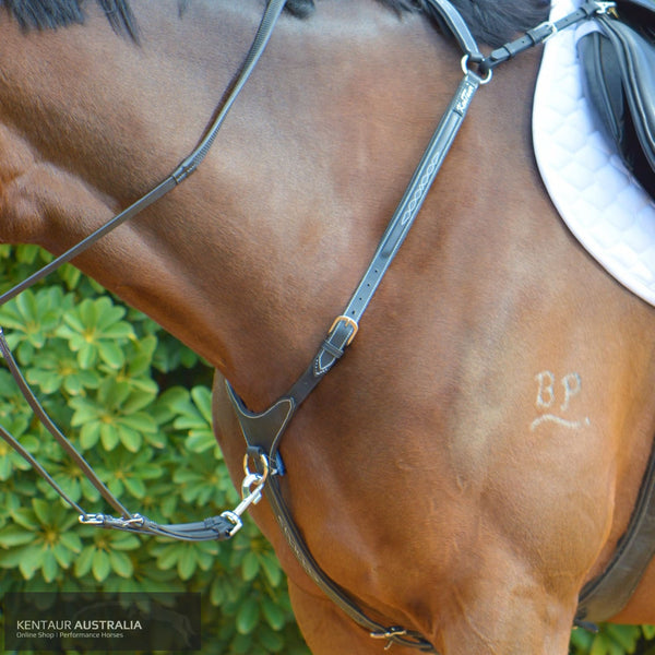 Kentaur Arras Breastplate Black with white stitching / Cob Breastplates