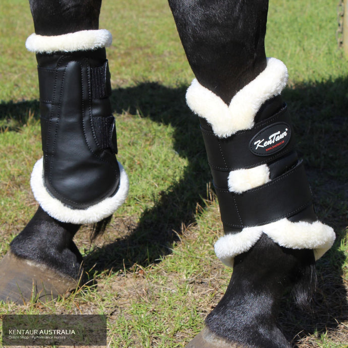 Kentaur Artificial Sheepskin Dressage Boots Black / White / Full dressage boots