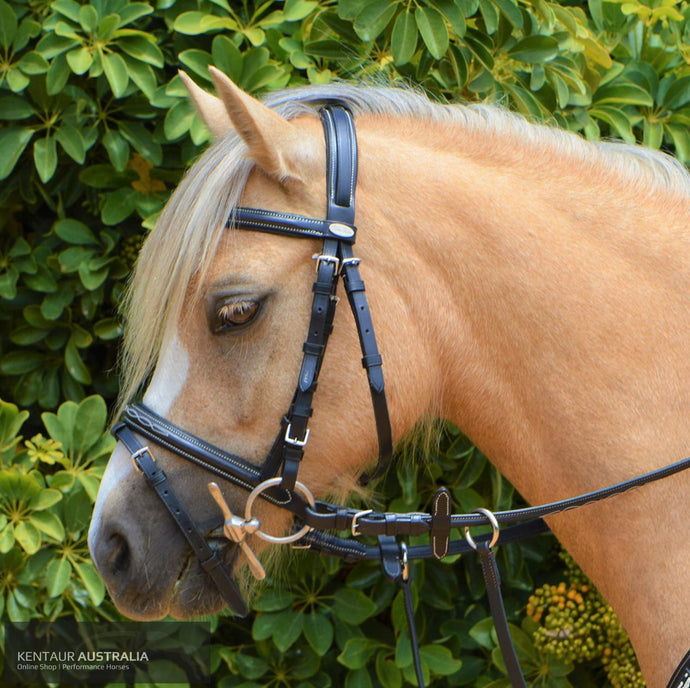 Kentaur Hanoverian Bridle With Decorative Stitching (Pony) Bridles