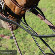Load image into Gallery viewer, Kentaur Rolled Leather Draw Reins Brown Training Aids