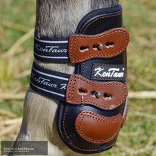 Load image into Gallery viewer, Kentaur Roma Flicker Hind Boots Black/ Tobacco / Full Training Jumping Boots