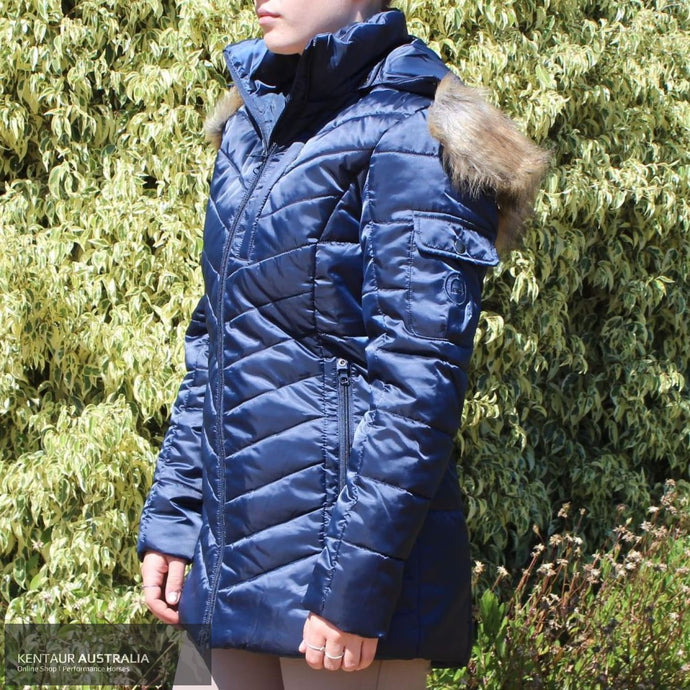 Montar Lila Long Fur Jacket Navy / AU 10 Jumpers and Jackets