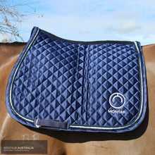 Load image into Gallery viewer, Montar 'Logo Satin' Jumping Saddle Pad Navy / Full Saddle Pad