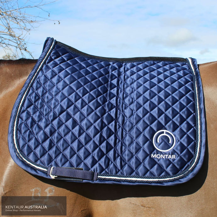 Montar 'Logo Satin' Jumping Saddle Pad Navy / Full Saddle Pad