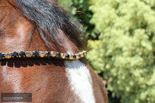 Load image into Gallery viewer, Montar Mighty Browband Black/Golden / Full / Black Bridles