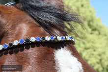 Load image into Gallery viewer, Montar Mighty Browband Clear/Saphire/Jet / Full / Black Bridles