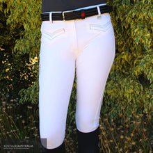 Load image into Gallery viewer, Montar Skye Womens Competition Breeches White/eggplant / 38 (Au10) / Knee Grip Competition Breeches