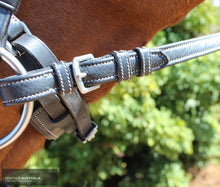 Load image into Gallery viewer, Montar Soft Leather Reins Black / Cob / Buckles Bridles