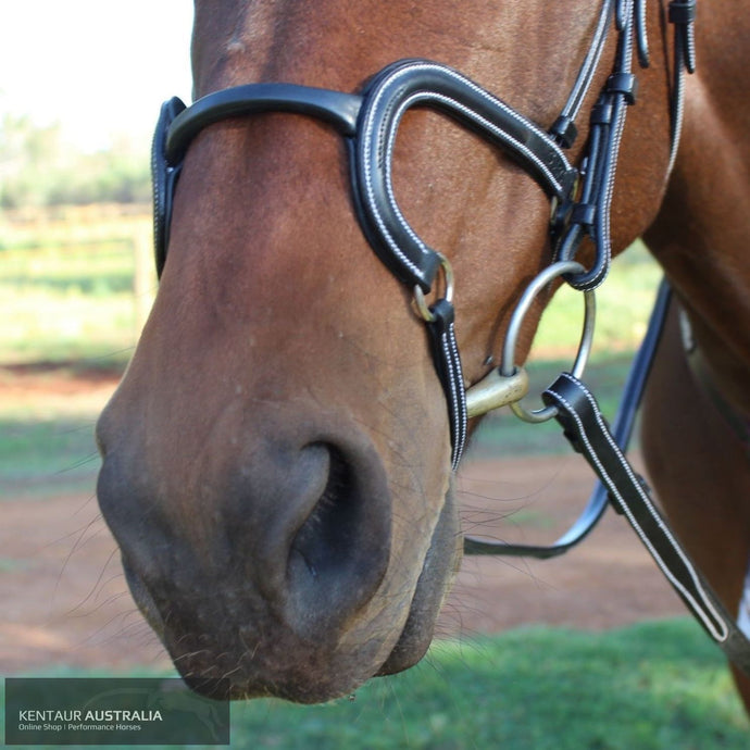 Silver Crown 'H Round' Leather Noseband Black Bridles