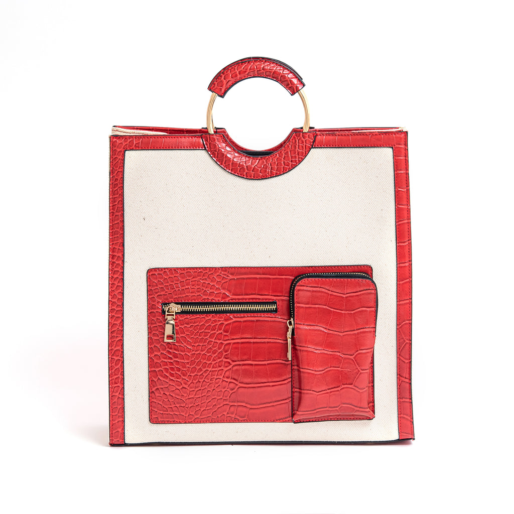 Okella's Stylish Handbag For Women (Off White and Red)