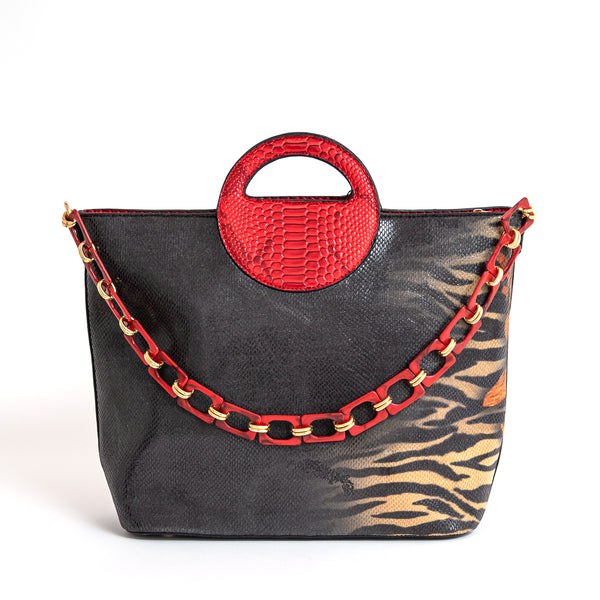 Okella's Fashionable Handbag With Animal Print (Tiger/Leopard Print)