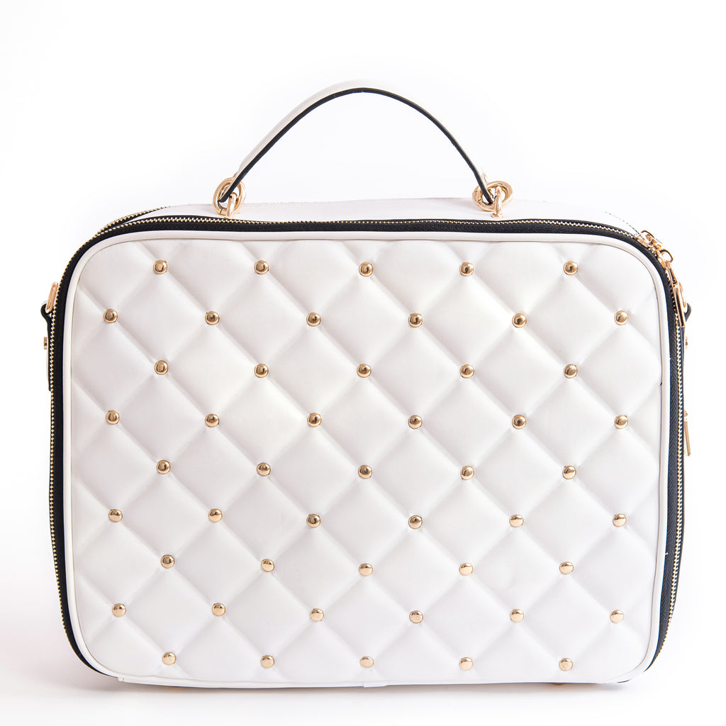 Okella's Elegant White Handbag / Notebook Bag With Gold Studs