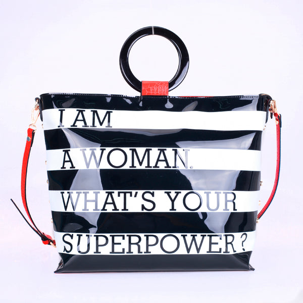 "Okella's Empowered Woman Tote Bag ""I AM A WOMAN. WHAT'S YOUR SUPERPOWER?"""