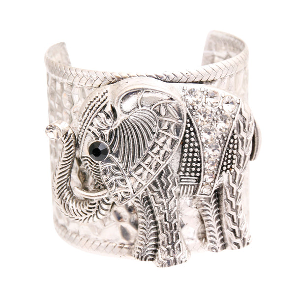 Burnished Silver Engraved Elephant Cuff (Clear with Burnished Silver Plating)