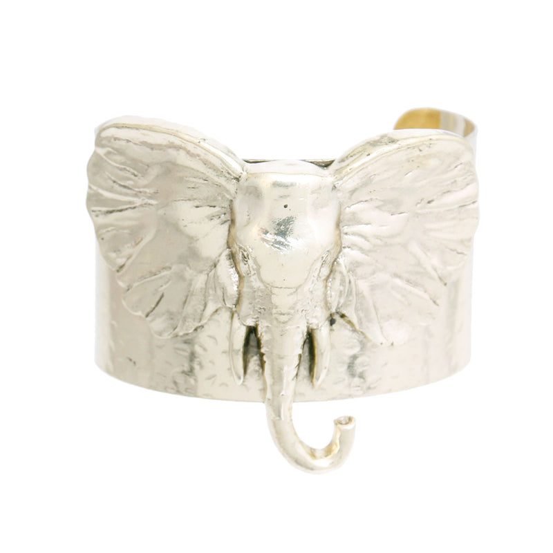 Burnished Gold Elephant Head Cuff (Burnished Gold Plating)