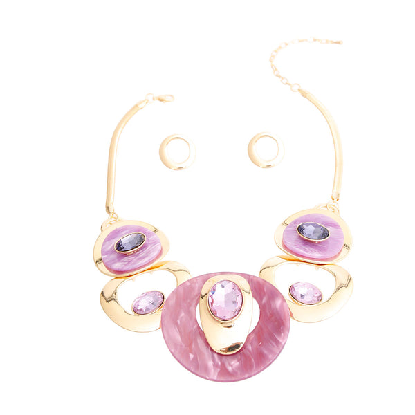 Purple Gold Circular Set (Purple with Gold Plating)