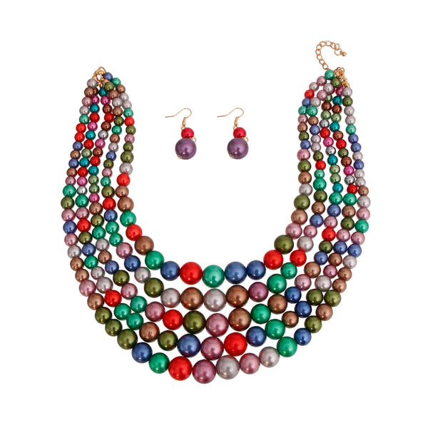 Dark Multi Color Pearl 5 Strend Set (Multi Color with Gold Plating)