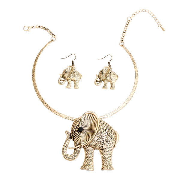 Burnished Gold Hammered Elephant Set (Gold with Burnished Gold Plating)