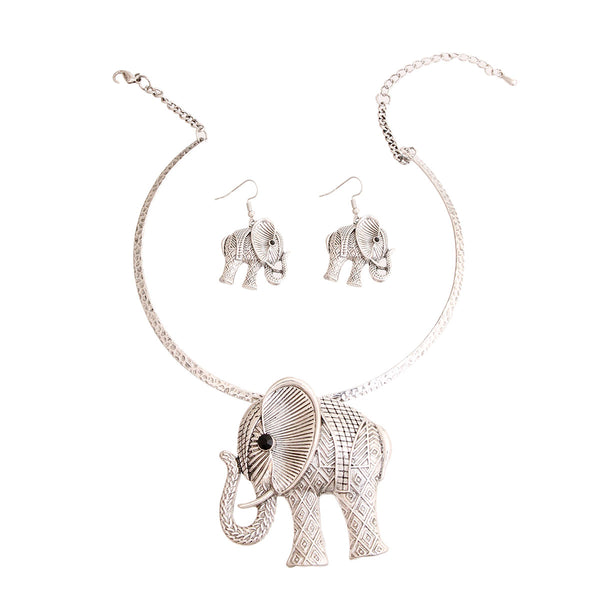 Burnished Silver Hammered Elephant Set (Silver with Burnished Silver Plating)