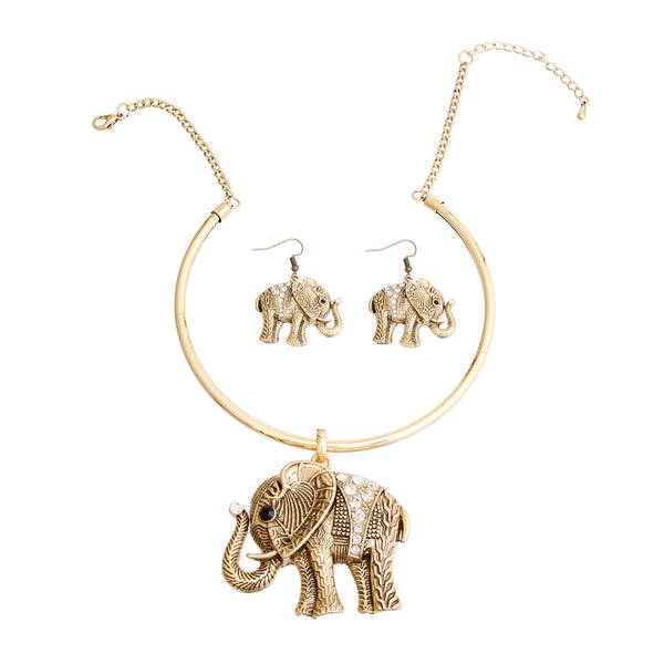 Burnished Gold Engraved Elephant Set (Clear with Burnished Gold Plating)
