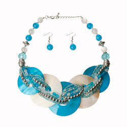 Blue and White Beaded Disc Necklace Set (Blue And White with Rhodium Plating)
