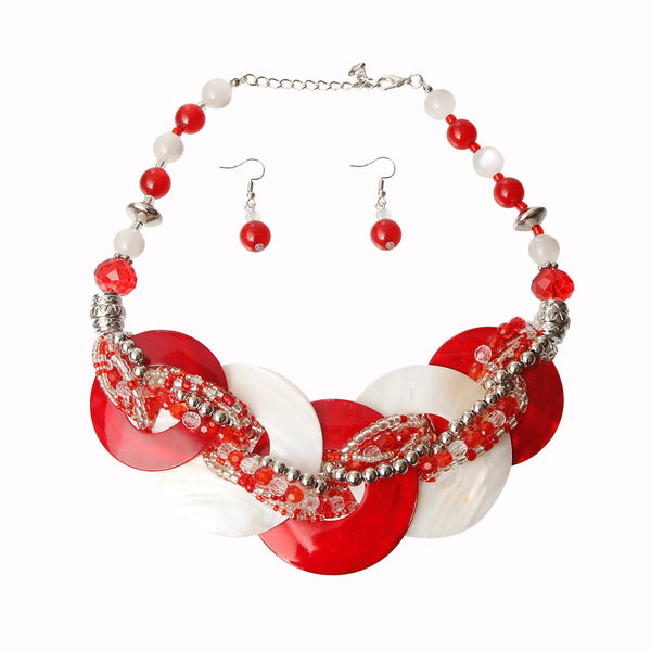 Red and White Beaded Disc Necklace Set (Red And White with Rhodium Plating)
