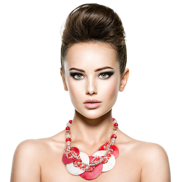 Red and White Beaded Disc Necklace Set