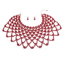 Burgundy Pearl Choker Cape (Red with Gold Plating)