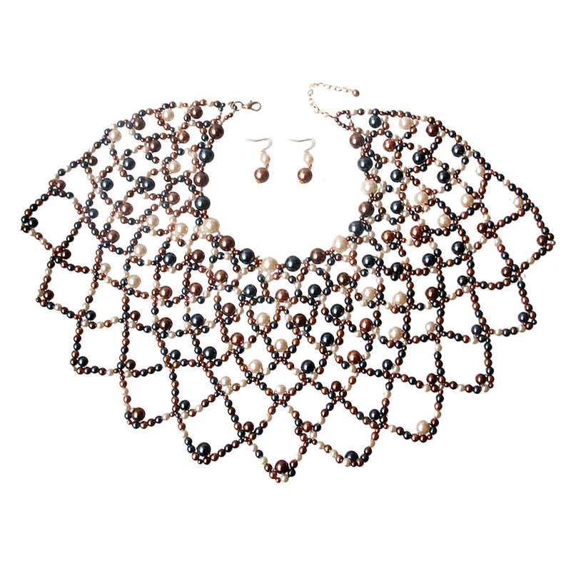 Gold Mixed Pearl Choker Cape