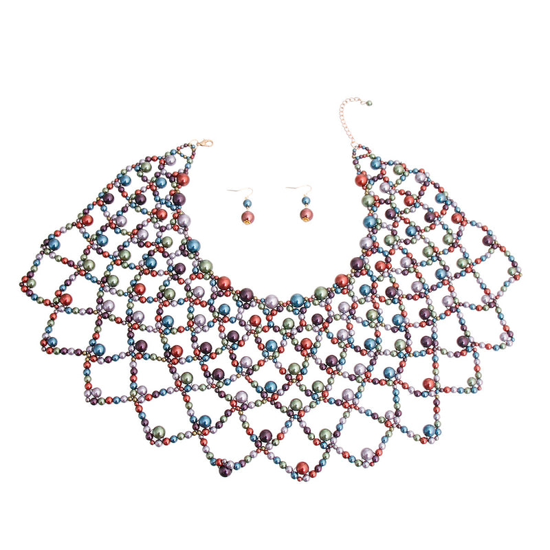 Multi Color Pearl Choker Cape (Multi Color with Gold Plating)