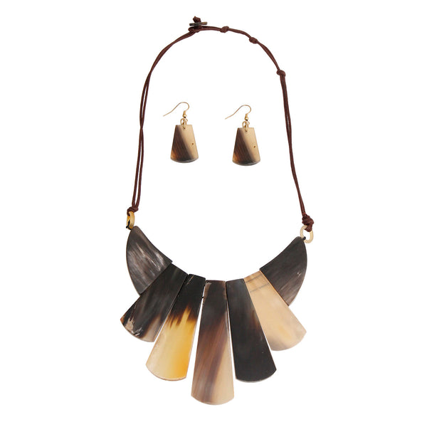 Natural Buffalo Horn Bib Necklace (Natural with Horn Plating)