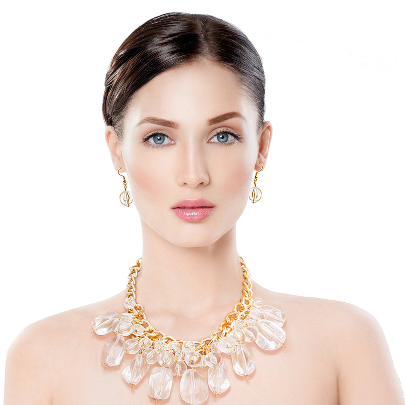 Chunky Gold Clear Bead Necklace