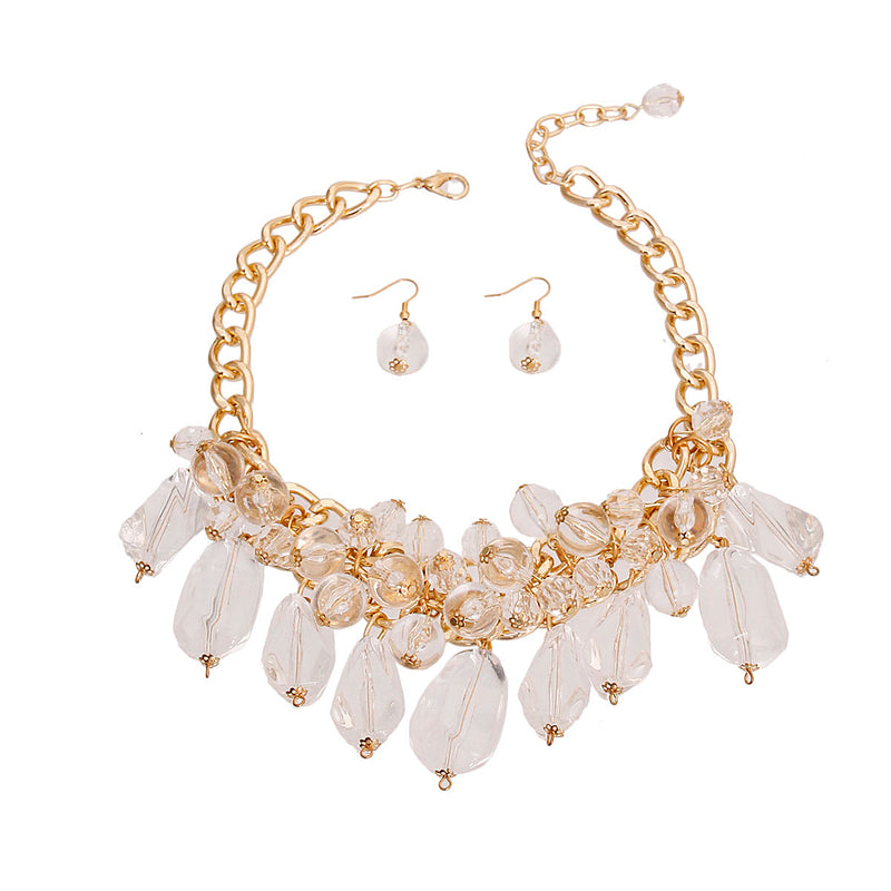 Chunky Gold Clear Bead Necklace (Clear with Gold Plating)