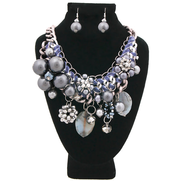 Chunky Chain Hematite Pearl, Crystal, and Bead Charm Necklace Set (Gray with Hematite Plating)