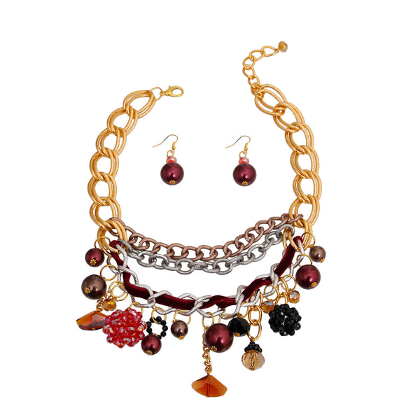 Red Charm Layered Chain Necklace (Red with Gold Plating)